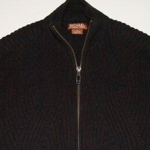 Michael Kors Textured Full Zip Sweater Small
